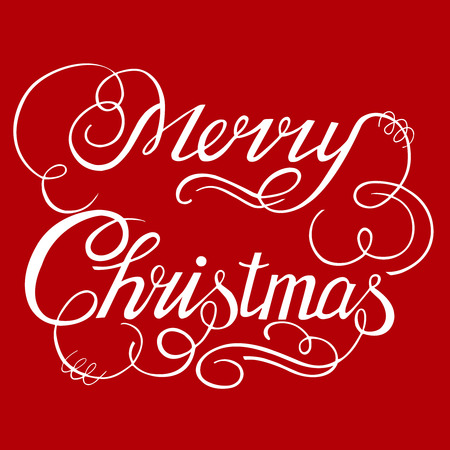 Calligraphic text handmade-Merry Christmas on red background