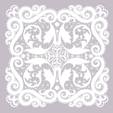 fabric patterns: White lacy doily with flowery pattern on a gray background