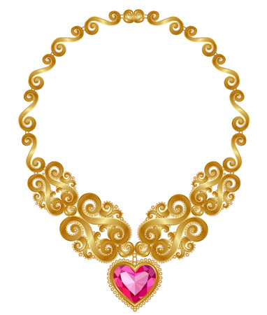gold necklace: The massive gold necklace with ruby heart