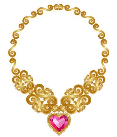 El collar de oro macizo con el rubí del corazón