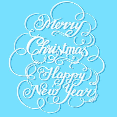 Calligraphic text handmade-Merry Christmas on blue background Illustration