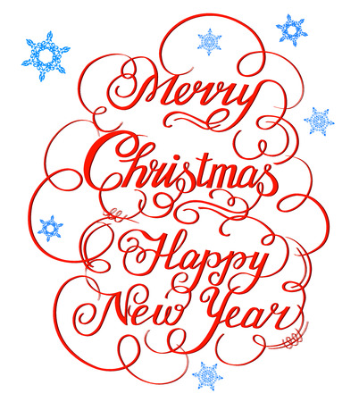 Calligraphic red text handmade-Merry Christmas with snowflakes Illustration
