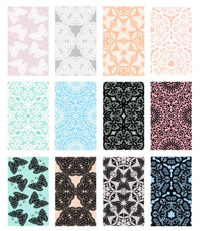handwork: Big collection of  lacy patterns. Lace seamless patterns  on pastel background