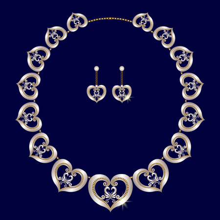 Earrings and a necklace of silver openwork hearts