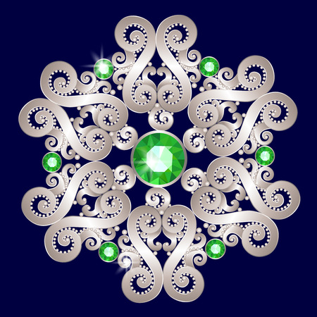 brooch: Silver brooch in the shape of a flower with emeralds