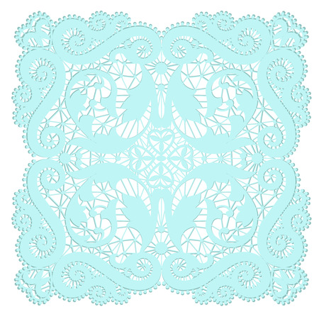 vintage ornament: Turquoise lacy doily with flowery pattern on a white background