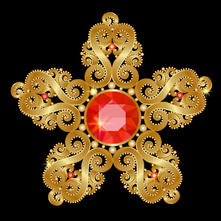 brooch: Gold brooch in the shape of a flower with rubies