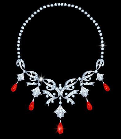 viso: Collar de plata con diamantes y rub�es forma de l�grima Vectores