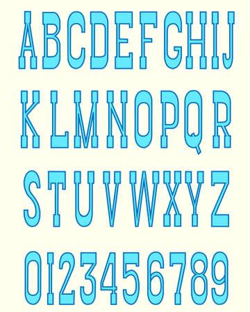 serif: Blue serif font with a dark blue outline