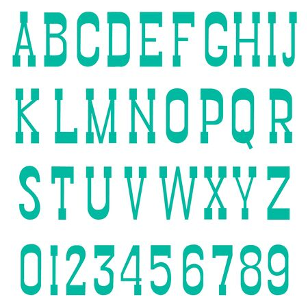 serif: Green font serif a white background vector Illustration