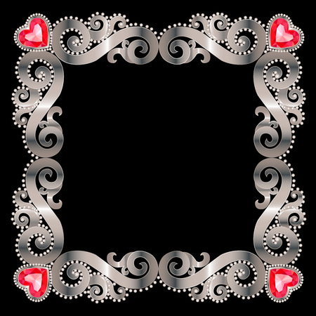ruby: Delicate silver frame with ruby hearts on a white background Illustration