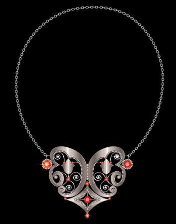 fashion jewelry: Silver necklace with rubies and diamonds on the hoop