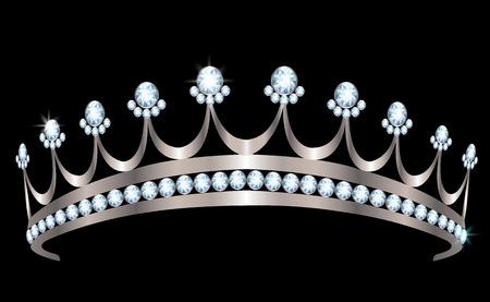 黒い背景にダイヤモンドと銀の王冠