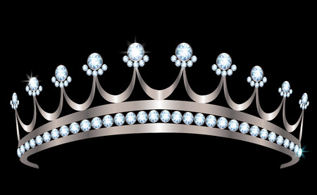 black and silver: Silver diadem with diamonds on black background