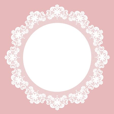 doily: White lace doily with flowery pattern on a pink background Stock Photo