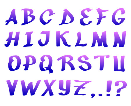 indian ink: Handwriting font graffiti made purple Indian ink