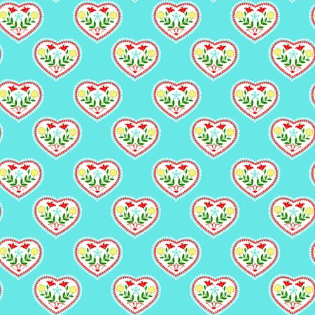 heart with floral pattern on a blue background Illustration