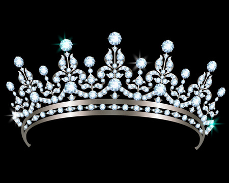 Silver diadem with diamonds on black background