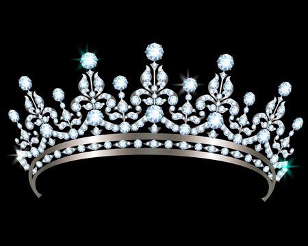 diadem: Silver diadem with diamonds on black background