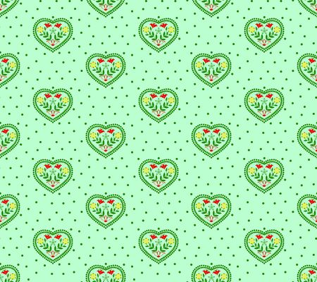 Heart with floral pattern on a green background
