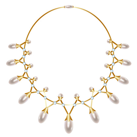 gold necklace: Gold necklace with teardrop-shaped pearls and diamonds