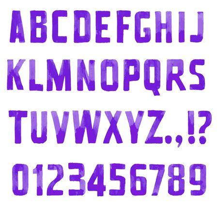 serif: Purple handwritten font sans serif and figures