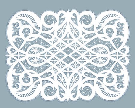 doily: White lace doily with flowery pattern on a gray background