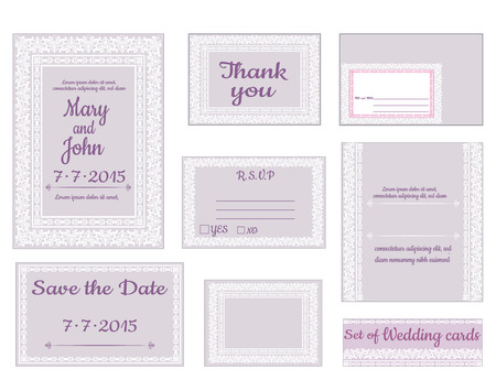 Set wedding invitation cards with decorative elements
