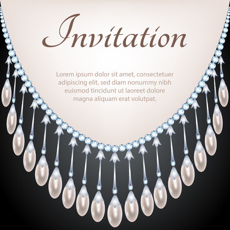 pearl: Glamour invitation card with pearl and diamond necklace