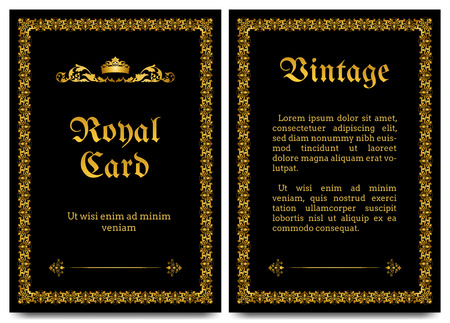 royal wedding: Royal vintage black background with golden ornament