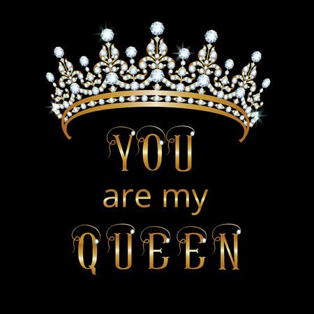 corona reina: tarjeta con una corona y el texto: eres mi reina