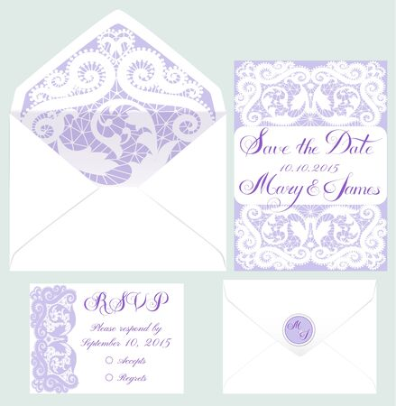 vintage background pattern: Vector set of invitation cards with lace elements Illustration