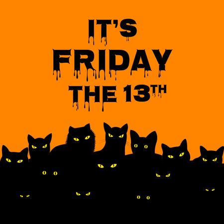 Scheda di Halloween per Venerdì 13 con i gatti neri Archivio Fotografico - 43887805
