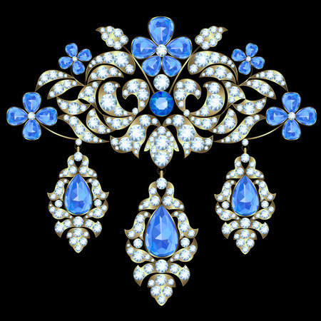 Brooch with a floral design of diamonds and sapphires Vettoriali