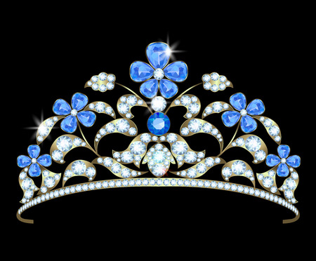 sapphires: Diadem with a floral design of diamonds and sapphires