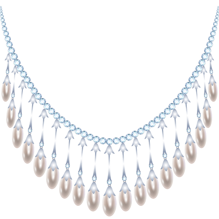 diamond necklace: Pearl necklace with diamond isolated on white Illustration