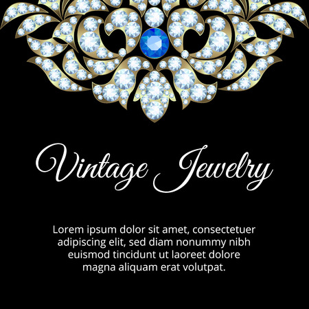 jewelry background: Jewelry vintage card with diamonds and sapphire
