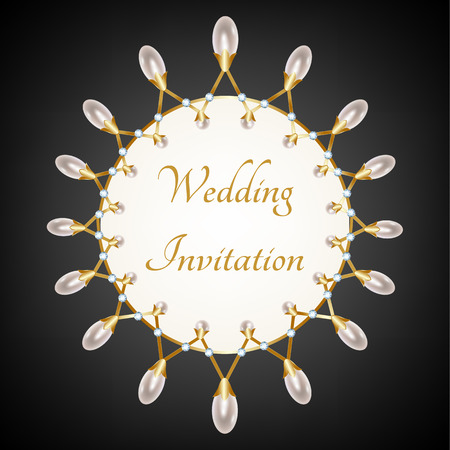 diamond necklace: Invittion card with pearl necklace with diamond on black background