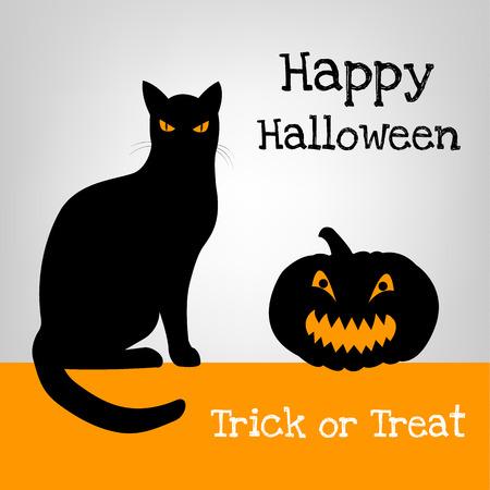 silueta de gato: Tarjeta de Halloween con el gato negro y calabaza