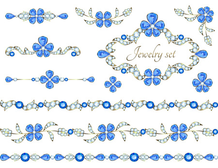 decoration elements: Jewelry decoration elements with sapphire flowers and diamonds