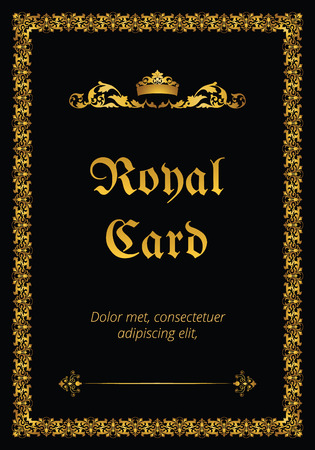 royal background: Royal card with crown on black background Illustration