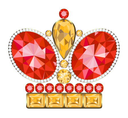 jeweled: King golden crown with ruby and diamonds