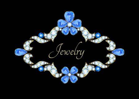 zafiro: Tarjeta de la vendimia de la joyer�a con diamantes y zafiros
