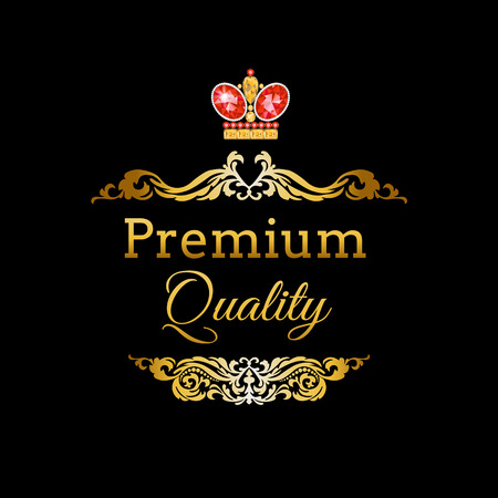 royal quality: Premium Quality royal frame golden label with ruby king crown Illustration