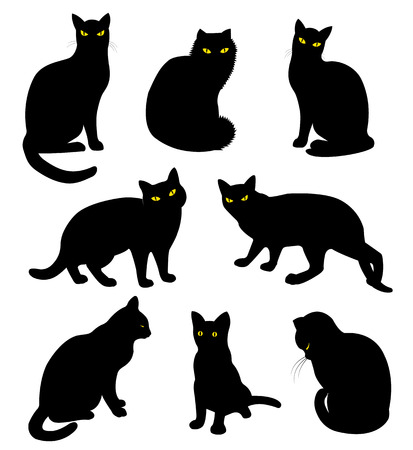 Black cats silhouette set in cartoon style Çizim