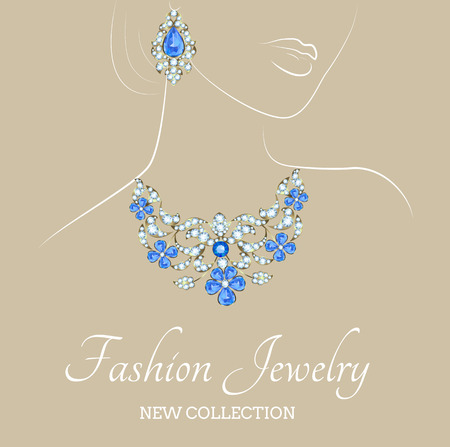 earrings: Fashion illustration of woman with jewelry necklace and earrings