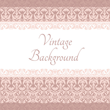 Vintage card with pattern border and pink background