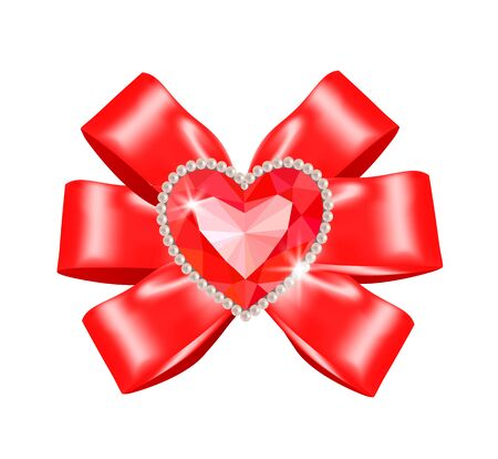 diamonds isolated: Red bow with heart ruby in frame of diamonds isolated on white Illustration