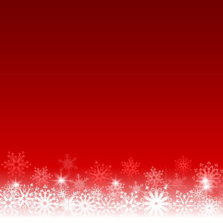 red and white: Snowflakes border on red background. Christmas card