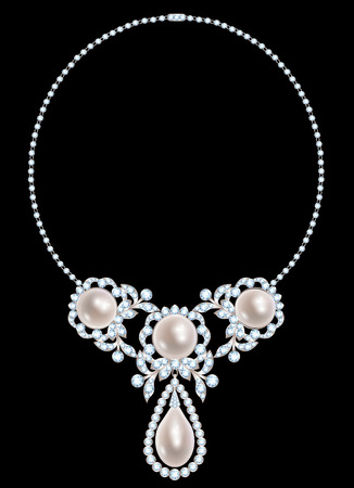 Jewelry necklace with pearls and diamonds on black background